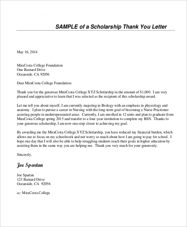 Scholarship Thank You Letters Sample Template Business