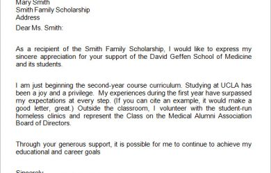 scholarship thank you note medical school scholarship thank you letter