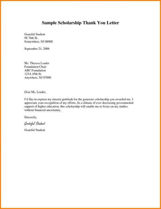 Scholarship Thank You Note  Template Business