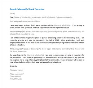 scholarships letters examples sample scholarship thank you letter free
