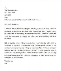 scholarships letters examples visa sponsorship letter