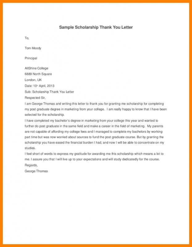 scholarships thank you letter sample