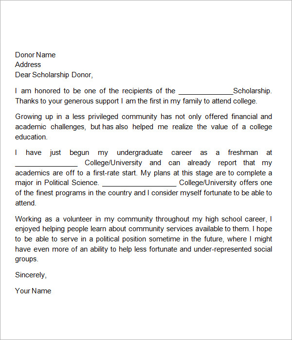 scholarships thank you letter sample