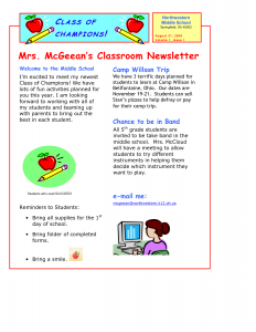 school newsletter templates classroom newsletter template