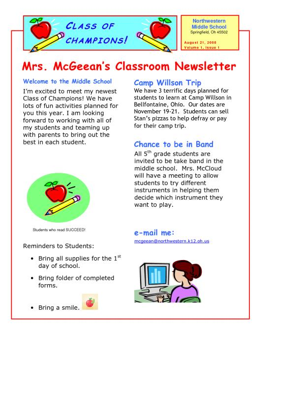 school newsletter templates template business. Black Bedroom Furniture Sets. Home Design Ideas