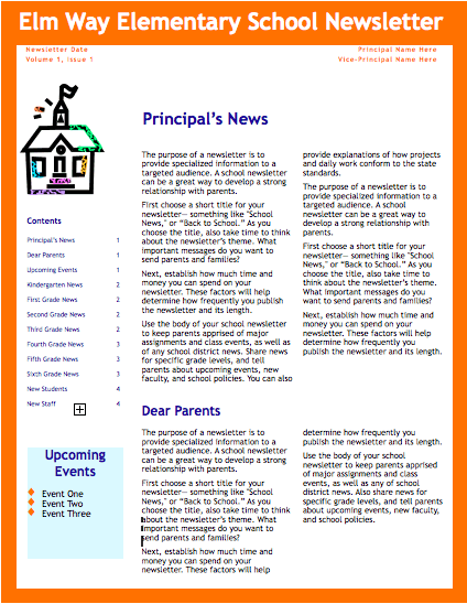 school newsletter templates