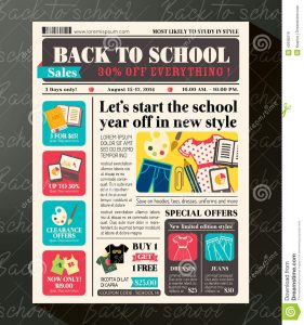 school newspaper template back to school sales promotional design template newspaper journal style