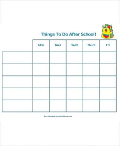 school schedule template printable after school schedule template