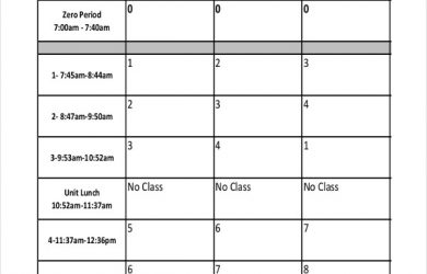 school scheduling template blank high school schedule template