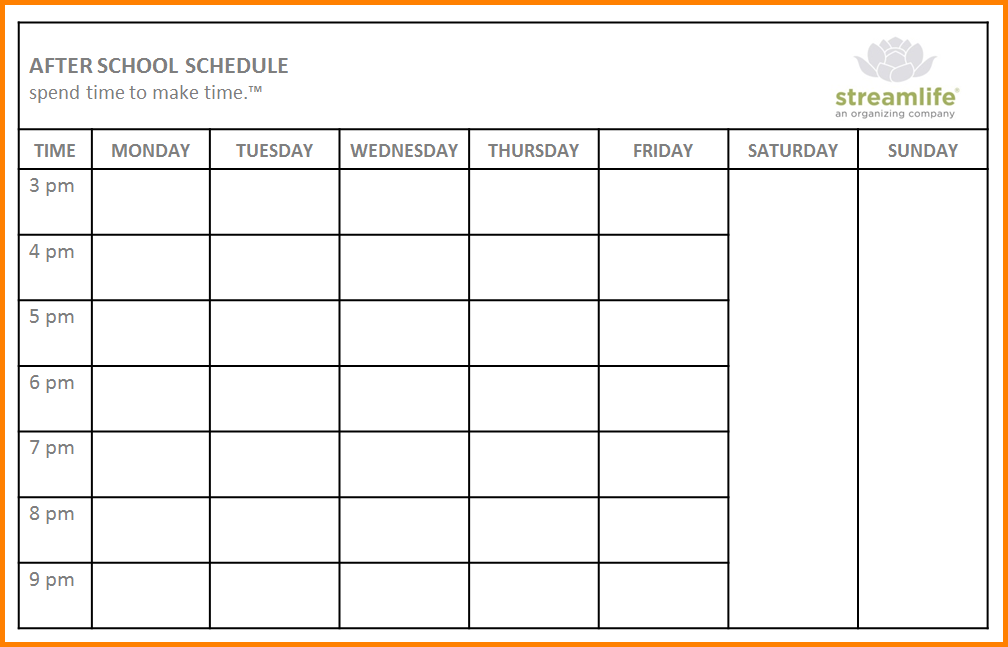 school scheduling template