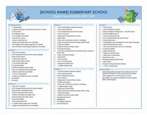 school scheduling templates school supplies checklist