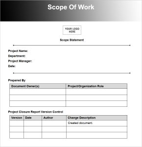 scope of work scope of work