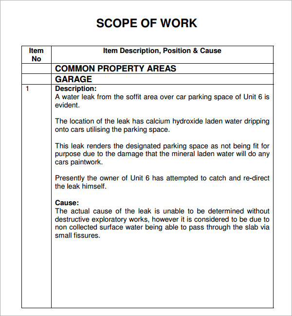 Scope of work template template business for It scope of work template