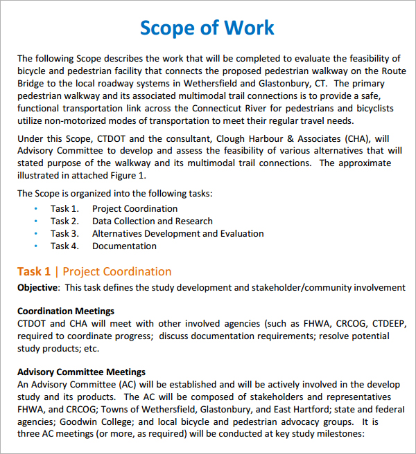 it project scope of work template - scope of work template template business