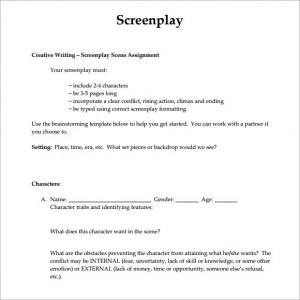 screenplay format template screenplay example