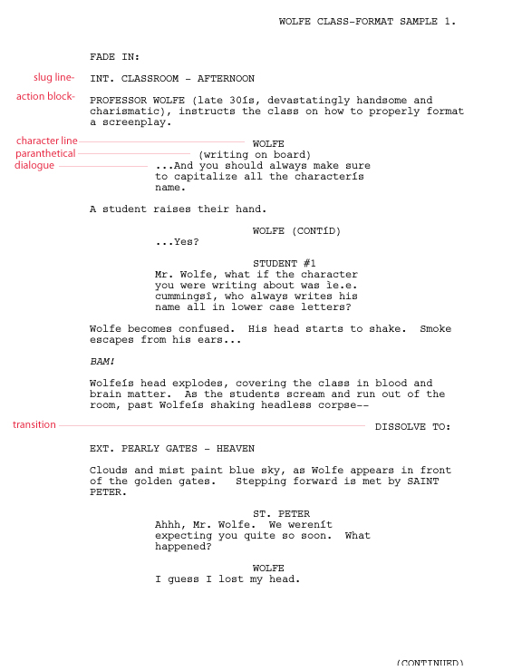 Screenplay format template template business for Free movie script template
