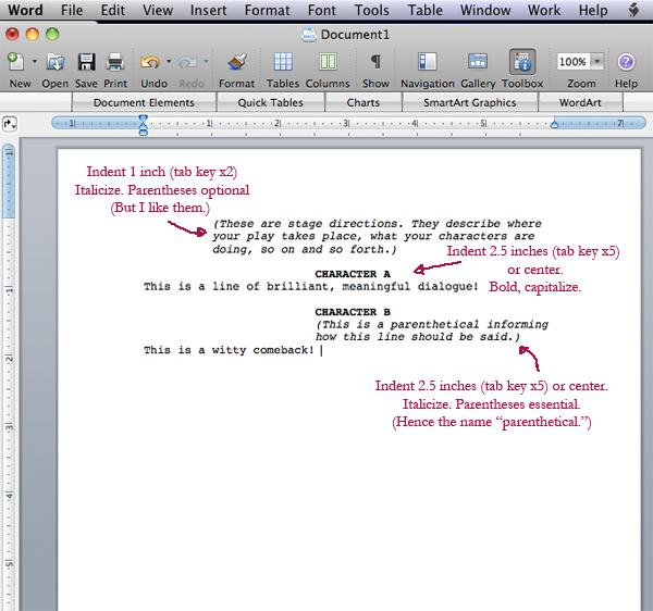 script format word