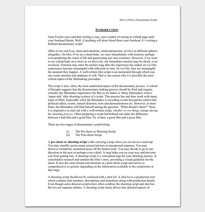 Script Writing Format Pdf Template Business