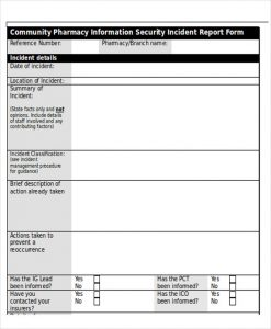 security incident report template information security incident report