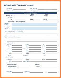 security incident report template security incident report form template ic offense incident report form