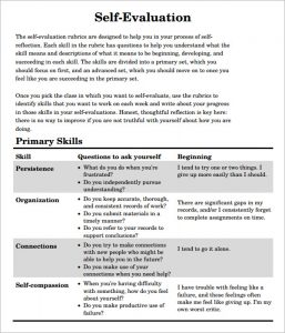 self evaluation examples self evaluation pdf