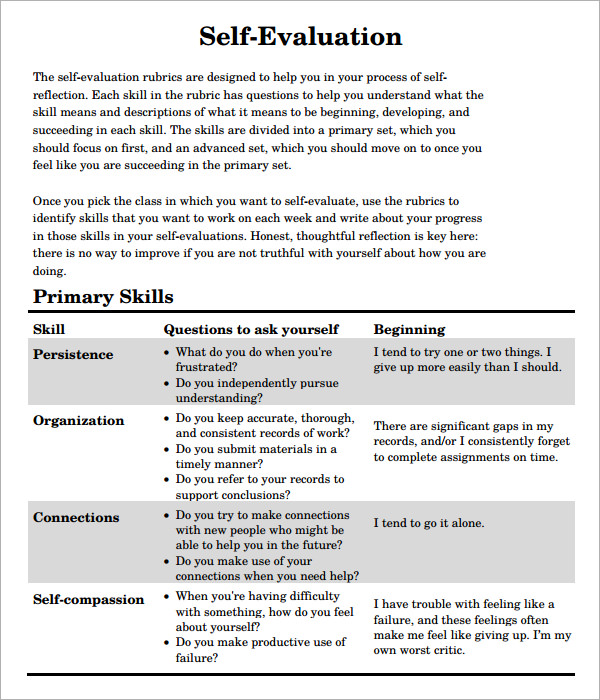 Self Evaluation Examples  Self Evaluation Examples Forms