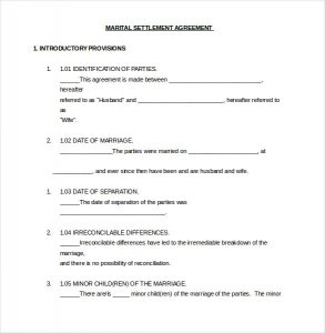 separation agreement template marital settlement agreeement template