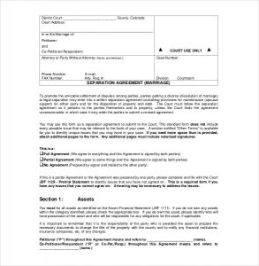 separation agreement template marriage separation agreement pdf format