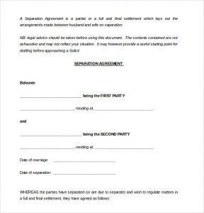 separation agreement template sample party separtion agreement template