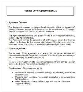 service agreement sample simple service level agreement template