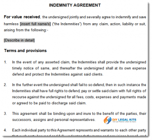service agreement samples indemnity agreement sample