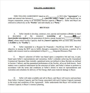 service agreement samples sample tolling agreement