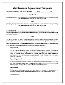 service agreement template maintenance agreement template