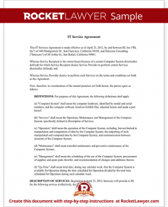 service agreement template sample it service agreement form template