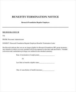 service cancellation letter insurance benefits termination letter
