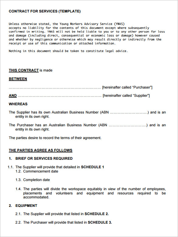 Service contract template template business for Agreement to provide services template