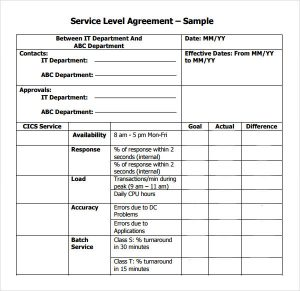 service level agreement template sample service level agreement template pdf