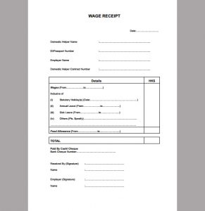 service receipt template wage receipt template