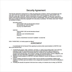settlement agreement form security agreement template to download