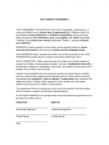 settlement agreement sample settlement agreement d