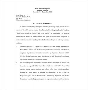 settlement agreement template sample download settlement agreement template