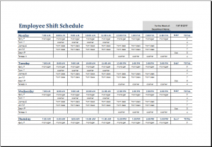 shift schedule template employee shift schedule