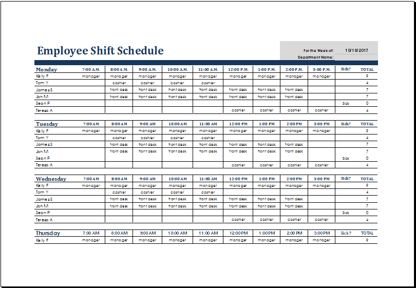 shift schedule template