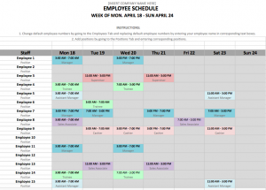 shift schedule template screen shot at pm