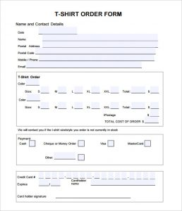 shirt order forms editable t shirt order form template pdf format