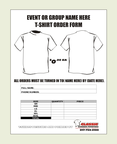 Shirt Order Forms | Template Business