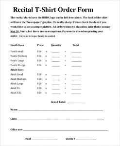 shirt order forms recital t shirt order form