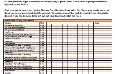 shooting schedule template basketball drills workout sheet printable