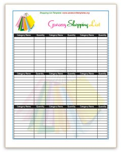 shopping list template shopping list template