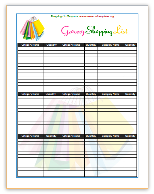 grocery shopping checklist template